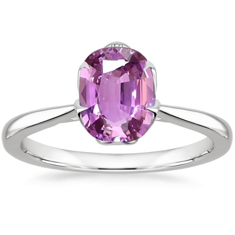 ANI 18K Rose Gold (AU750) Women Wedding Ring Certified Solitaire Natural Pink Sapphire Jewelry Oval Shape Engagement Gems Ring new pure au750 rose gold love ring lucky cute letter ring 1 13 1 23g hot sale