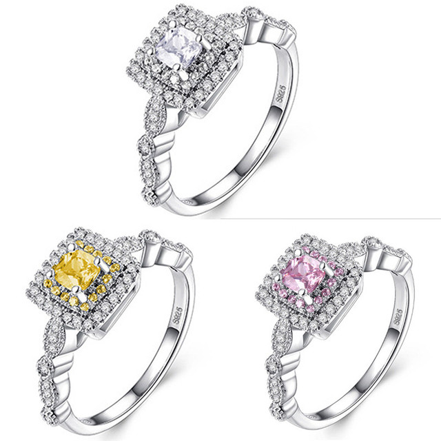 Imitation Diamonds Engagement Ring Princess Cut Halo Wedding Rings For Women Cubic Zirconia