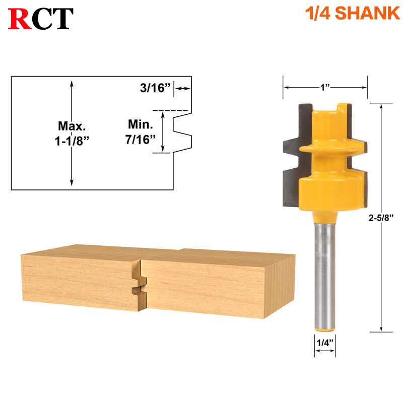 Glue Joint Router Bit - Medium Reversible - 1/4 Shank - Woodworking cutter Tenon Cutter for Woodworking Tools 2 pcs 1 2t type shank 3teeth tenon cutter 4mm reversible glue bits of high quality dovetail router bits box joint router bit