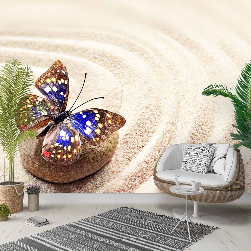 Else Yellow Sand Brown Stones Blue Butterfly 3d Photo Cleanable Fabric Mural Home Decor Living Room Bedroom Background Wallpaper