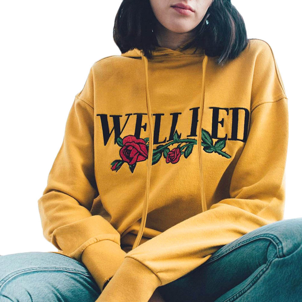 2017 casual spring autumn fashion rose print letter yellow sweatshirts long sleeve harajuku women hoodies pullover