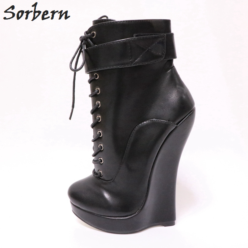 womens ladies platform retro block high heels lace-up ankle boots shoes plus SZ