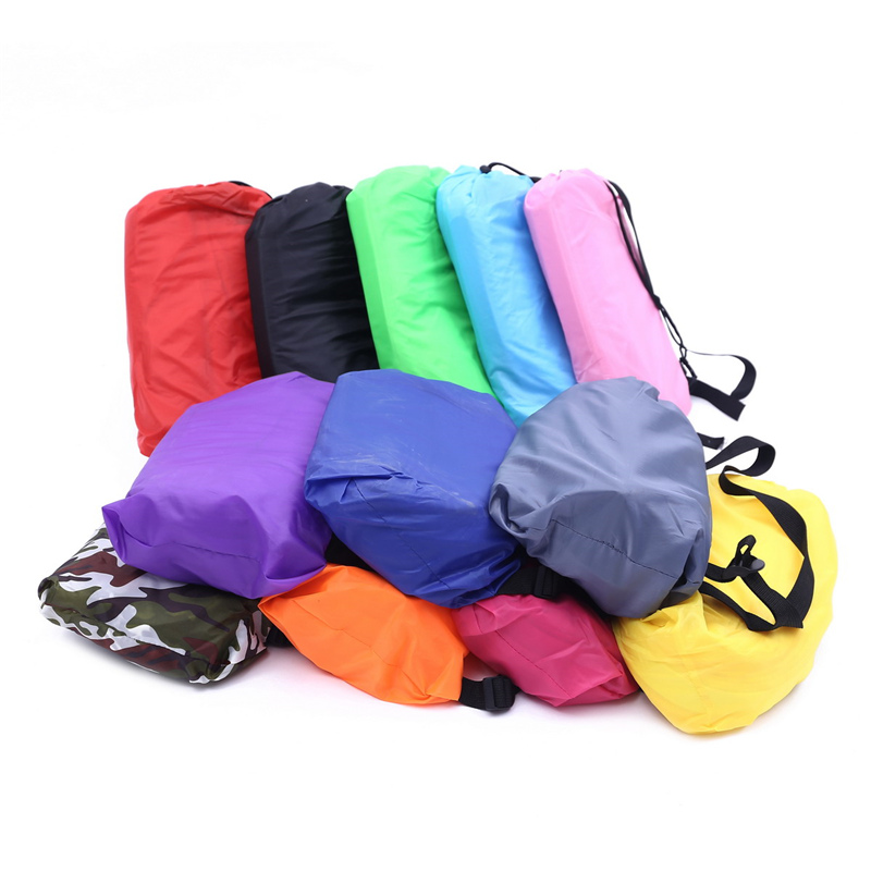 Drop shipping 210 x 70 cm Fast Inflatable Lazy bag Sleeping Air Bag Camping Portable Air Sofa Beach Bed Air Hammock Nylon Sofa