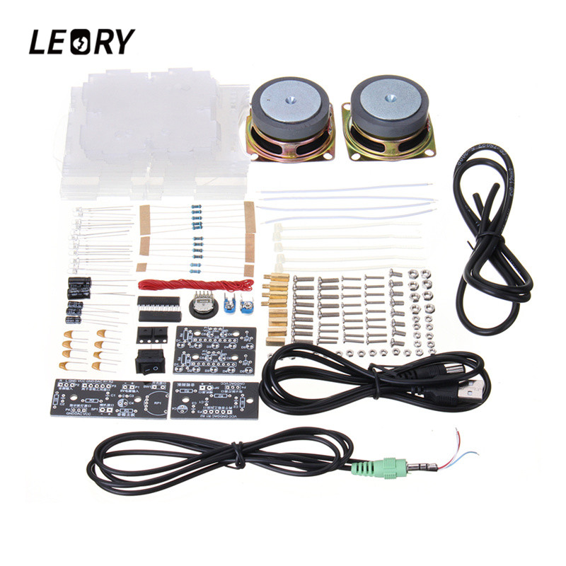 LEORY 8002 Mini font b Amplifier b font Speaker DIY Audiophile Dual Loudspeakers Electronic Components Stereo