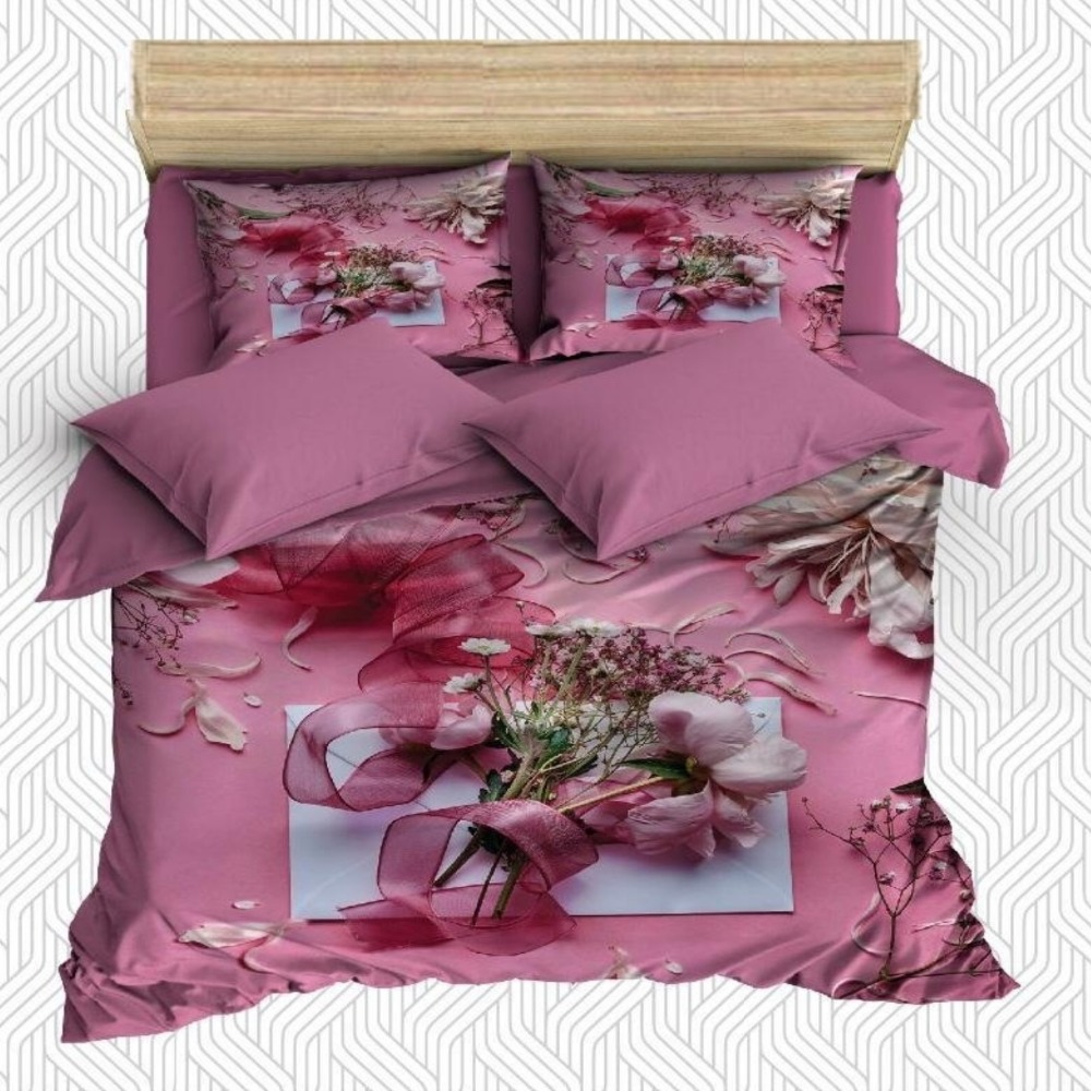 Else 6 Piece Pink White Roses Flowers Rose Leaves 3D Print Cotton Satin Double Duvet Cover Bedding Set Pillow Case Bed Sheet|Duvet Cover| |  - title=