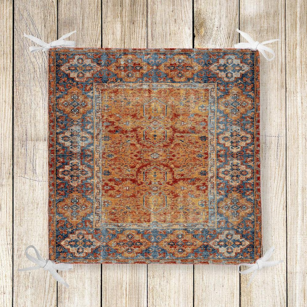 Else Orange Brown Turkish Vintage 3d Print Square Chair Pad Seat Cushion Soft Memory Foam Full Lenght Ties Non Slip Washable