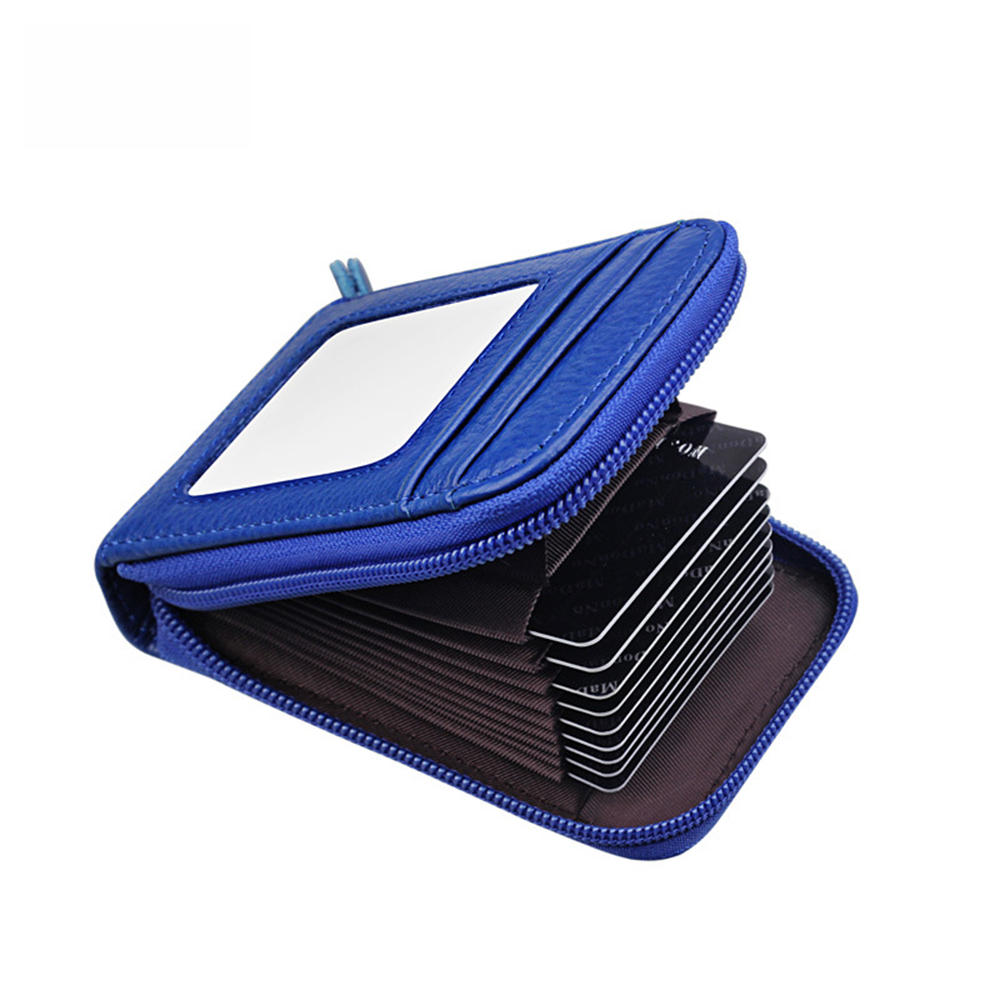 RFID Anti-scan credit card package Holders Wallet Split Leather Cards Wallet High Capacity Female Credit Holders Purses