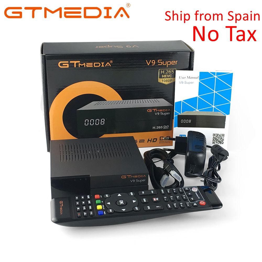 GTMedia V9 Super Satellite Receiver Bult-in WiFi with 1 Year Spain Europe Cccam Cline Full HD DVB-S2/S Freesat V9 Super Receptor 10 pcs gtmedia v7 upgrade digital satellite receiver dvb s2 full 1080p v7s hd support cccam cline 1 year receptor wifi usb