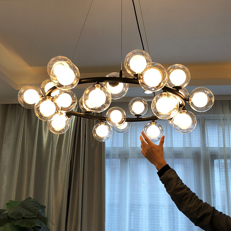 Европейский кольцевой салон современный черный светодио дный Золотой светодиодный подвесной светильник гостиная фойе круглый стеклянный