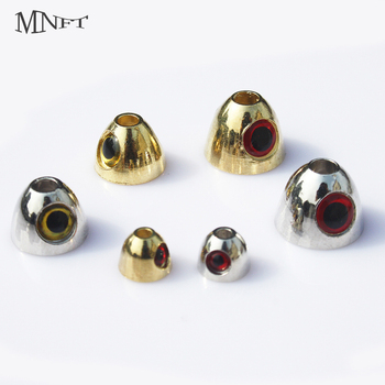 MNFT 5PCS Gold Silver Cross-eyed Cones With 3D Eyes Fly Tying Coneheads Materials Fish Skull Weighted Heads image