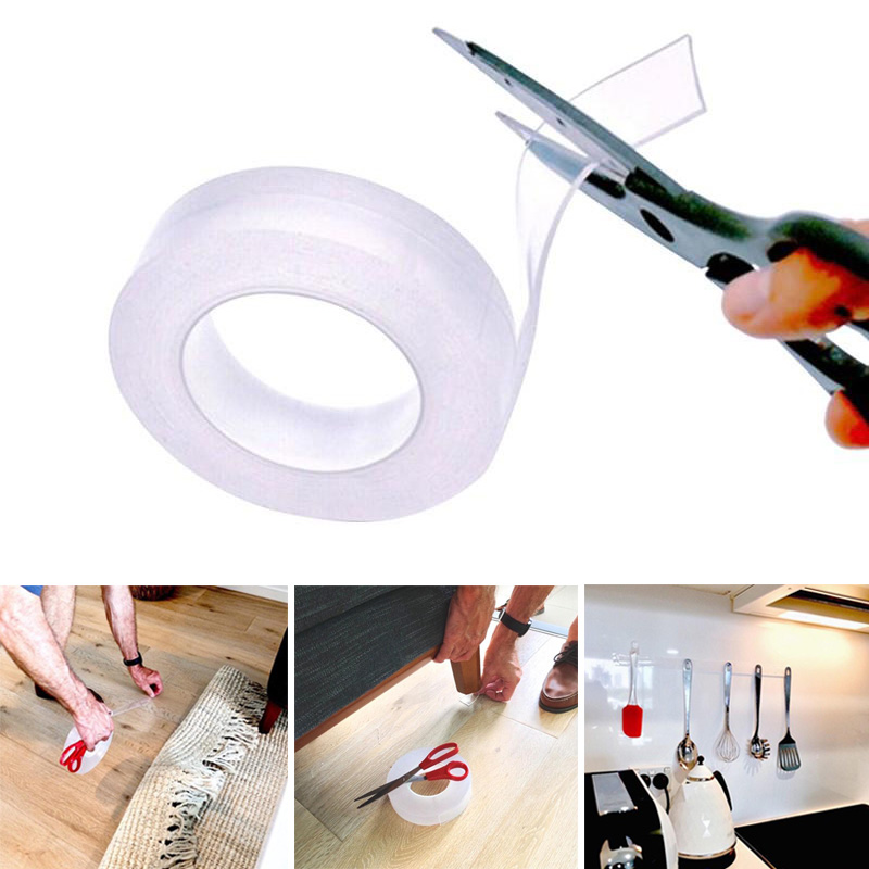 Anti-slip Double Sided Transparent Adhesive Tape Thick Home Practical Nano Magic Tape Reusable Mildewproof Sealant 3M 5Mx3cm New