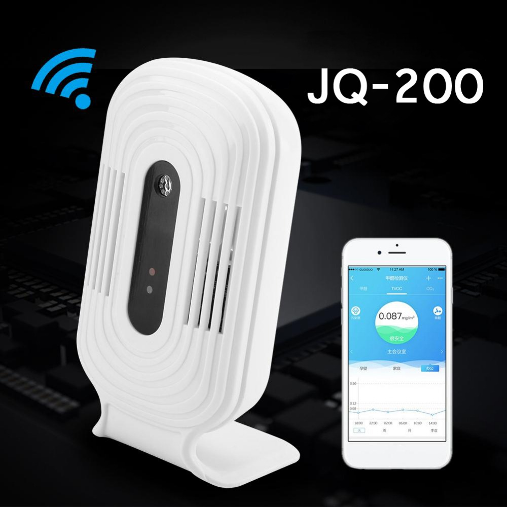 JQ-200 Intelligent WIFI Home Smog Meter CO2 HCHO TVOC Air Quality Analysis Tester Detector Sensor Temperature Humidity Monitor