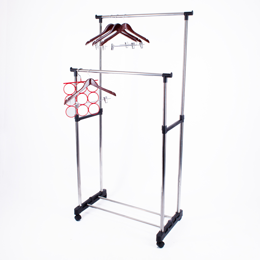 two level standing clothes drying rack metal floor hanger cheap