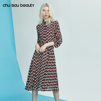 Chu Sau Beauty 2018 New Women Knee Length Dress New Fashion Print Spring Summer Vestidos Elegant