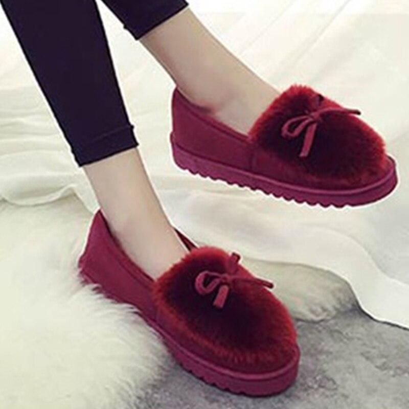 Kjstyrka 2017 Autumn Hot Sale Sweety flock Slip On Women Flats Shoes warm winter fur Fashion Casual Girls boat shoes