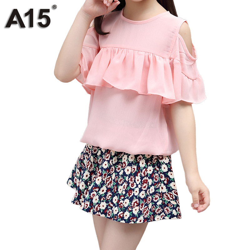 A15 Children Clothing Sets Summer Girls Sport Suit Short Sleeve T Shirt Skirt 2pcs Fashion Kids Clothes Sets 4 6 8 10 12 14 Year