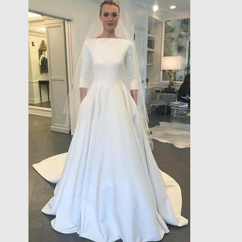 Full Sleeve Wedding Gown: Angel Married Wedding Dresses A Line Half Sleeve Bridal