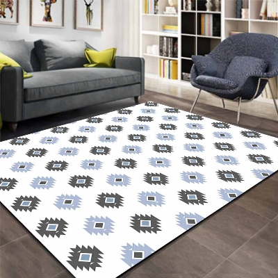 Else Navy Blue Ethnic Authentic Tales Geometric 3d Print Non Slip Microfiber Living Room Decorative Modern Washable Area Rug Mat