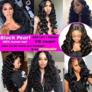Image 5 - Blackpearl บาทรวมกับ Non Remy Human Hair 3 รวมกลุ่มกับการปิด 1B # หลวมคลื่นปิด