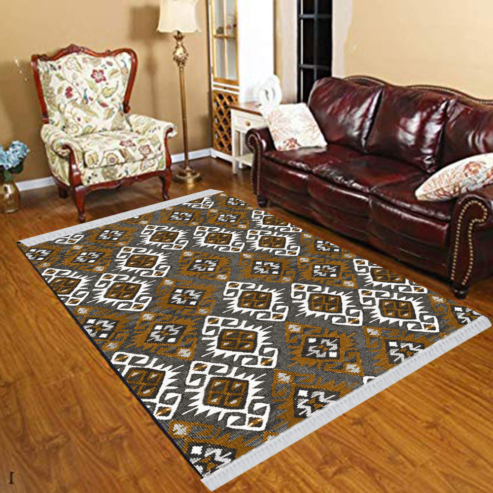 Else Gray Brown Ottoman Ethnic Retro Geometric 3d Print Anti Slip Kilim Washable Decorative Kilim Tassel Rug Bohemian Carpet