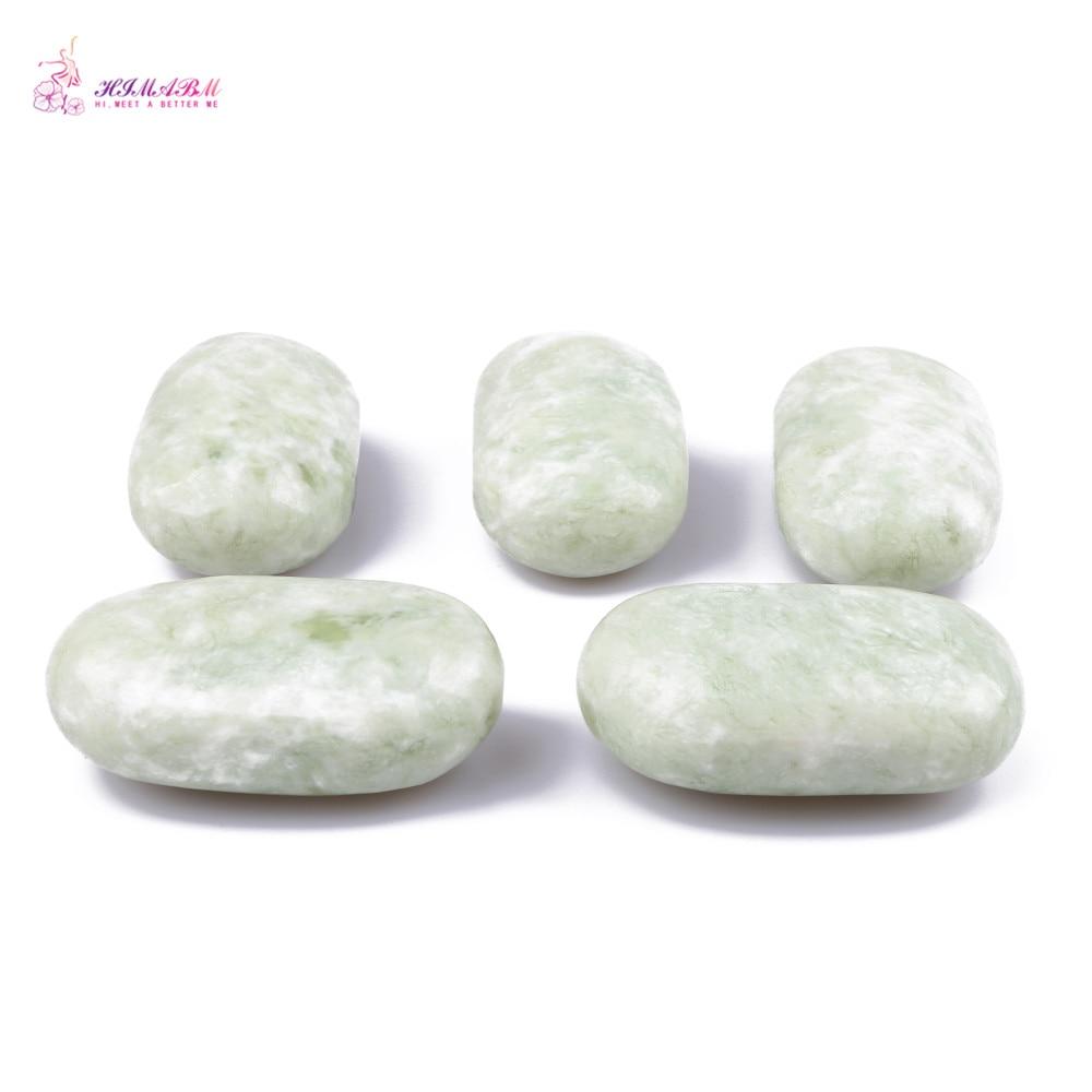 HIMABM 5 Pieces Natural Light Green Xiuyan Jade Hot Spa Basalt Stone Massage Basalt Stone Lava Rocks 93*55*36mm