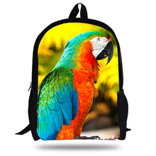 16-Inch Hot Animal Print Bags For Kids Parrot Pattern Backpack Children Boys lory School Girls Christmas