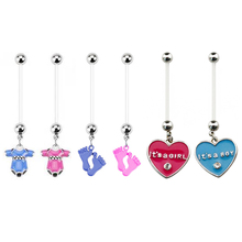 6pieces BABY ON BOARD Assorted Style Flexible Navel font b Piercing b font Ring Pregnancy font