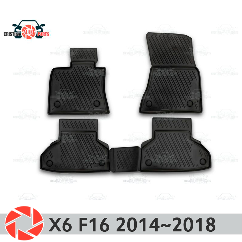 Floor mats for BMW X6 F16 2014-2018 rugs non slip polyurethane dirt protection interior car styling decoration accessories