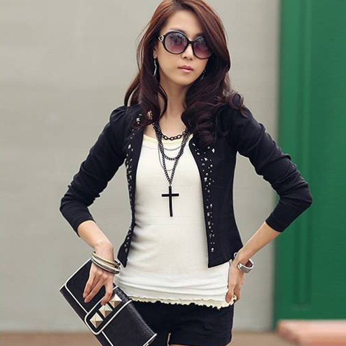 HotNew Style Women's Suit Jacket Rhinestone Rivet Puff Long Sleeve - Kvinneklær