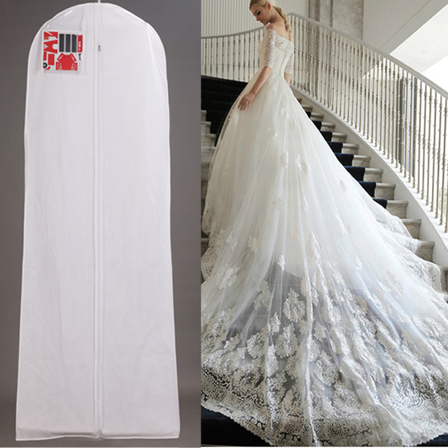 White Wedding Dress Cover Bridal Garment Long Clothes Waterproof Dustproof Storage Bag For Protesting