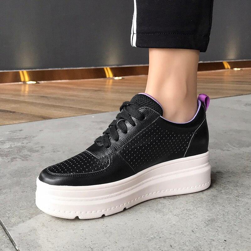 2019 Plate Casual Cuir Cm En Blanc forme Beige Femmes 6 Chaussures noir Sneakers QWrdxBoCe