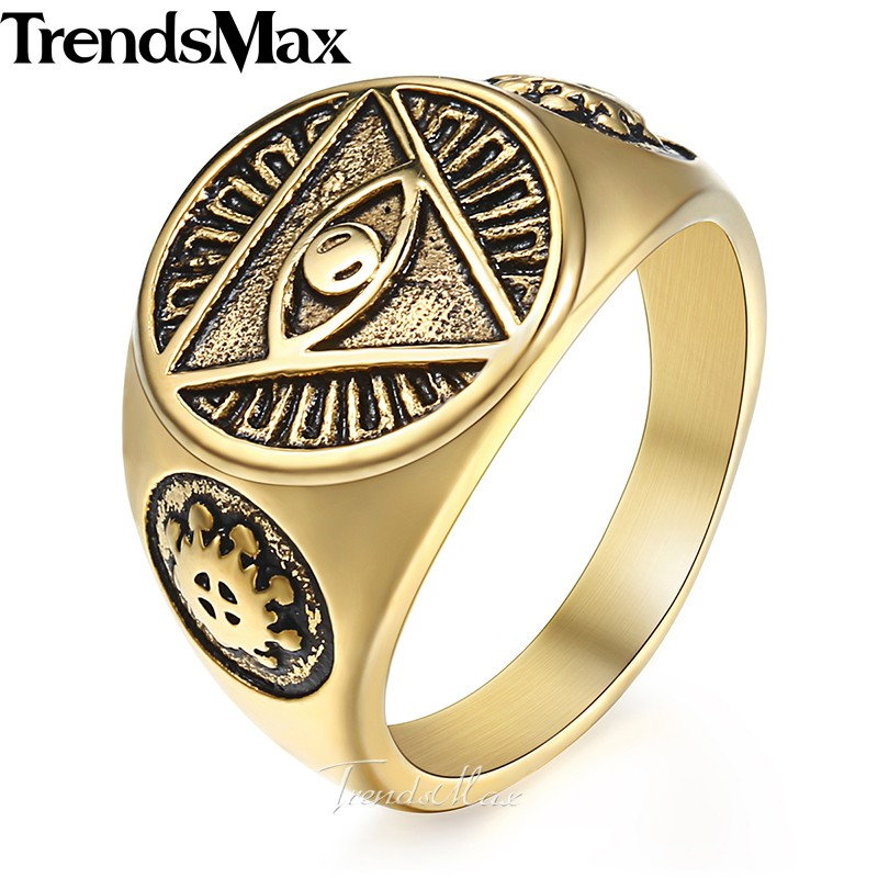 Men's Ring 316L Stainless Steel Rings for Men Gold Silver Color Illuminati Pyramid Eye Hip Hop Jewelry Dropshipping 2018 HR365 trendsmax ring for men 316l stainless steel gold silver color illuminati pyramid eye ring hip hop jewelry accessories hr365