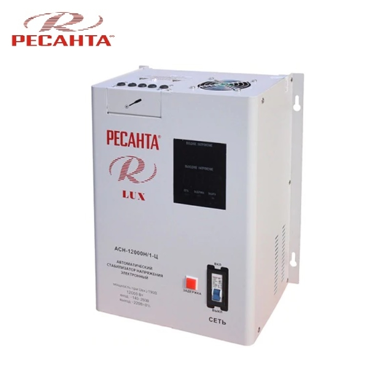 Single phase voltage stabilizer RESANTA ASN-12000N/1-C LUX Relay type Voltage regulator Monophase Mains stabilizer Surge protect voltage regulator resanta asn 12000 n1 c
