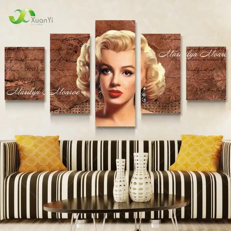 5 パネルマリリン · モンローポスターのキャンバスアート絵画プリント壁の家の装飾大壁の写真リビングルーム非フレーム