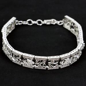 "Image 2 - Herrliche Weiße Zirkonia frau Weding Silber Armband 7,0 7.5 ""10x10mm"
