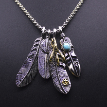 цена на EKUSTYEE Vintage Long Necklace Men Eagle Claw Feather Pendant Necklaces Male Colar Leaf Boho Summer Jewelry Beach Collier
