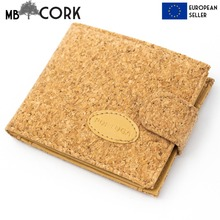 Natural cork with Pu leather vegan wallet card wallet for