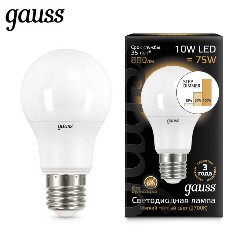 LED lamp bulb diode E27 A60 10W 2700K 4100K step dimmable Gauss Light Cold White Warm White Lampada Ampoule Bombilla Lamp Light cree xlamp xml xm l rgbw rgbww rgb cool warm white 12w 4 chip led emitter bulb mounted on 20mm star pcb for stage light