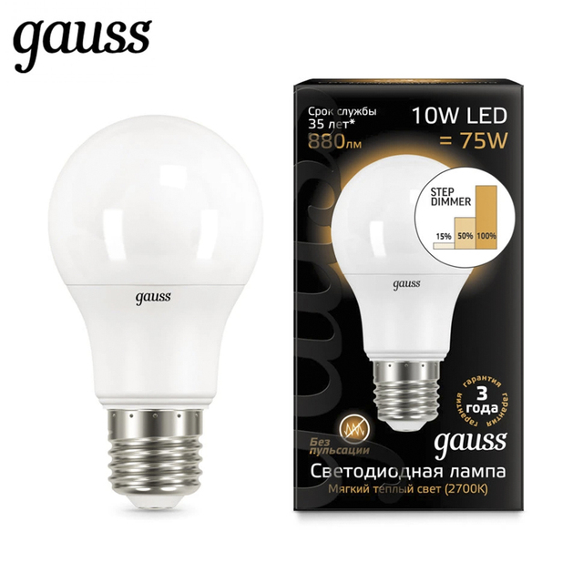 Лампа светодиодная Gauss LED A60 10W E27 2700К 4100K step dimmable 102502210-S 102502110-S