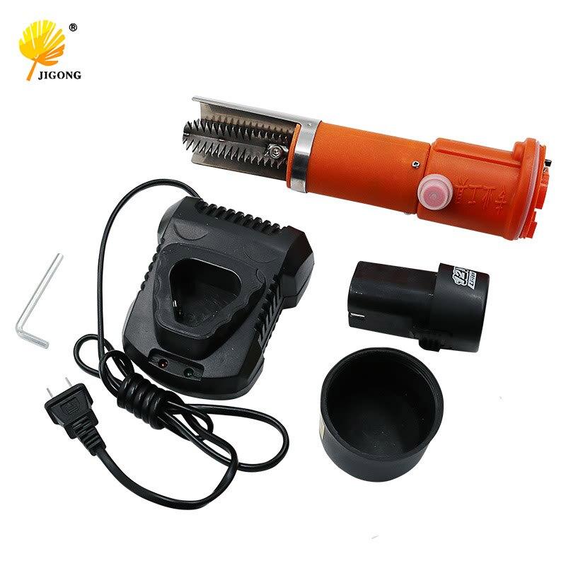JIGONG 12 V électrique écailleur peau deslagger échelle grattoir lame 1500ma rechargeable au lithium batterie outils écailles de poisson fruits de mer