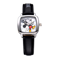 Disney Brand Cartoon Mickey Mouse Children Watches Leather Quartz Fashion Child Students Square Boys Clocks Waterproof