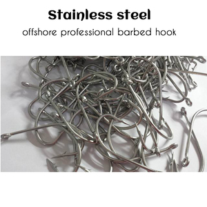 Image 4 - Acier inoxydable barbelé #1 ~ #10 hameçon en acier à haute teneur en carbone épaissi Angler hareng esturgeon crochets 5 pièces/lot