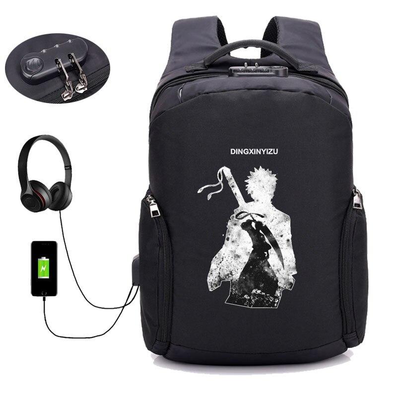Anime sac à dos de blanchiment étudiant livre sac sacs à dos pour ordinateur portable pour homme multifonction USB Charge ordinateur sacs à dos Anti-vol sac à dos