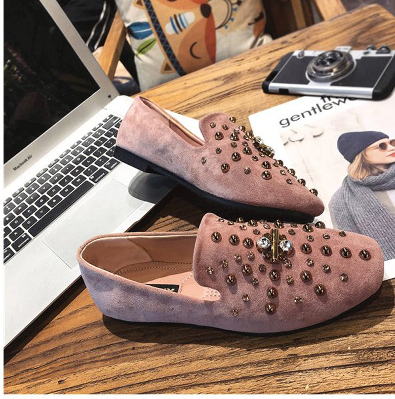 D'or Femmes Chaussures En Décontractées black Nouvelles Appartements Rivet Goujons brown Noir Plates Pink Mocassins Daim Ballerines Métal Rose tgdwqq1n