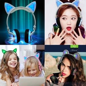 Image 4 - YiJee kedi kulak LED kulaklık LED yanıp sönen parlayan ışık kulaklık kulaklık oyun kulaklık PC bilgisayar ve cep telefonu