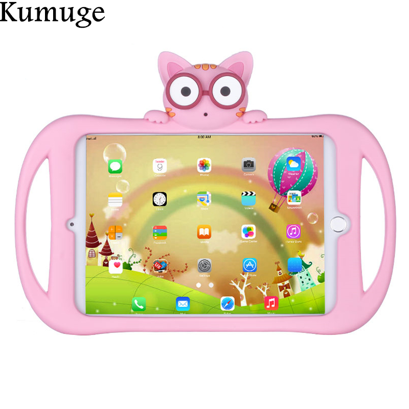 Lovely Cat Cover Case for 2017 New iPad 9.7 inch Safe Shockproof EVA Silicone Stand Case for New iPad 9.7 Model A1822 for Kids