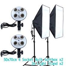 Диффузор светильник 50*70 см для непрерывного светильник ing софтбокс для 4-в-1 гнездо E27 патрон для лампы с 2 шт, длина 2 м, светильник стенд фотостудия комплект