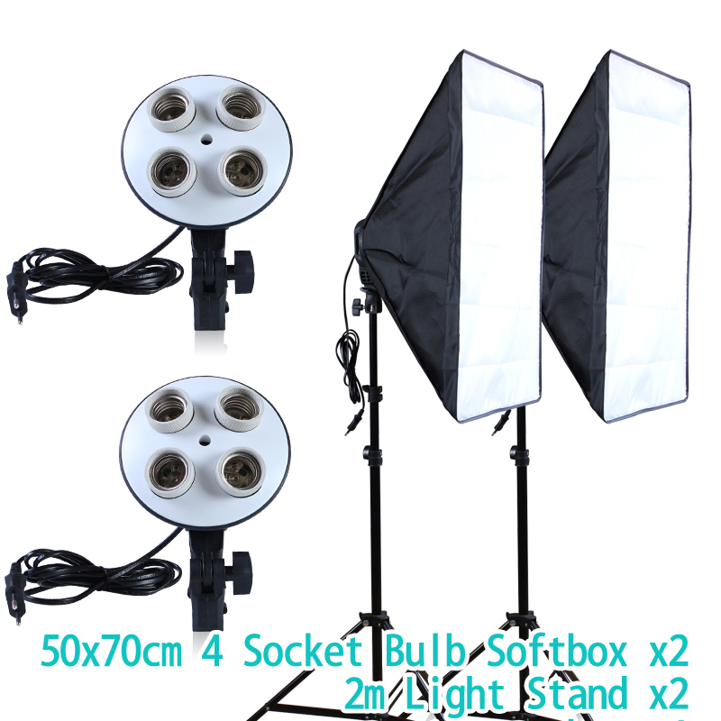 50*70cm Continuous Lighting Softbox for 4-in-1 Socket E27 Light Lamp Hloder with 2Pcs 2M light Stand Photo Studio Lamp Kit photographic equipment50x70cm softbox soft box e27 lamp holder socket for studio continuous lighting baorong bayonet bowens cd50