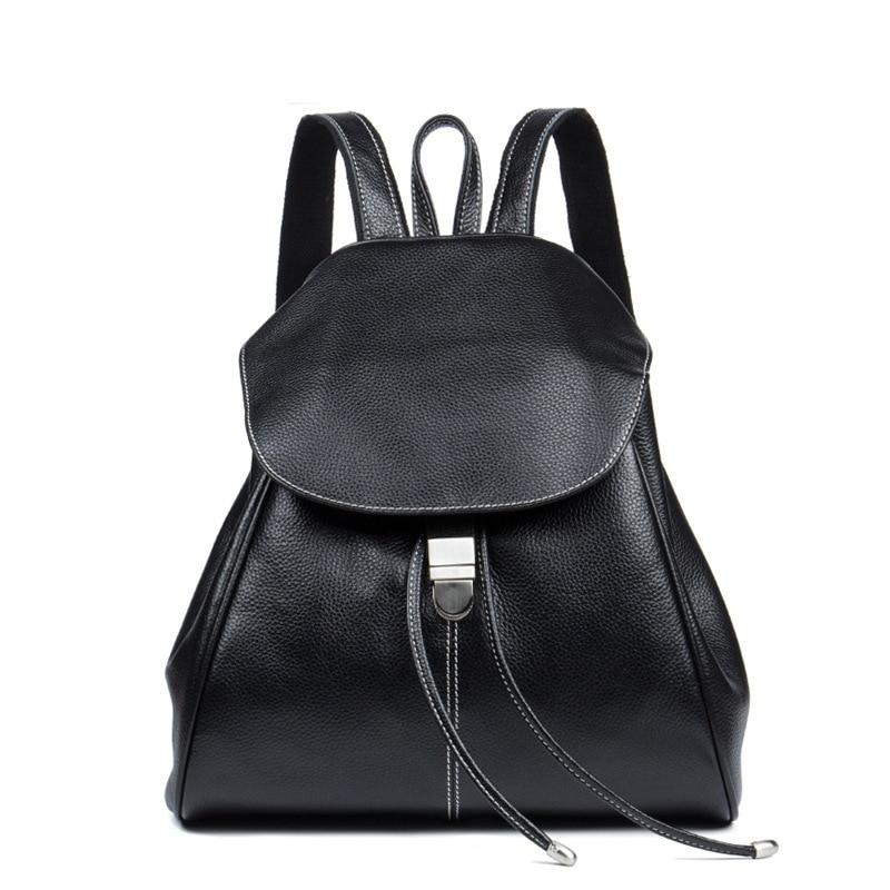 Top Quality Genuine Leather Women Casual Fashion Small Feminine Travel Kawaii Backpack Sac A Dos Bagpack Back Drawstring Bag - 6