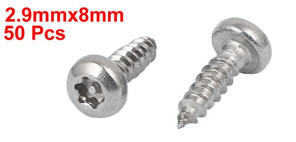 UXCELL 2.9Mmx8mm Thread 304 Stainless Steel Pan Head Star Drive Self Tapping Screw 50Pcs